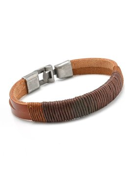 Lovelymusthaves Lovelymusthaves - Cool leather men bracelet brown/black with metal closure