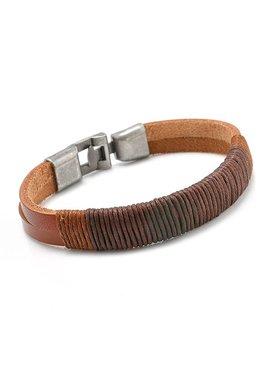 Stoere echt leren mannen / heren armband met metalen sluiting