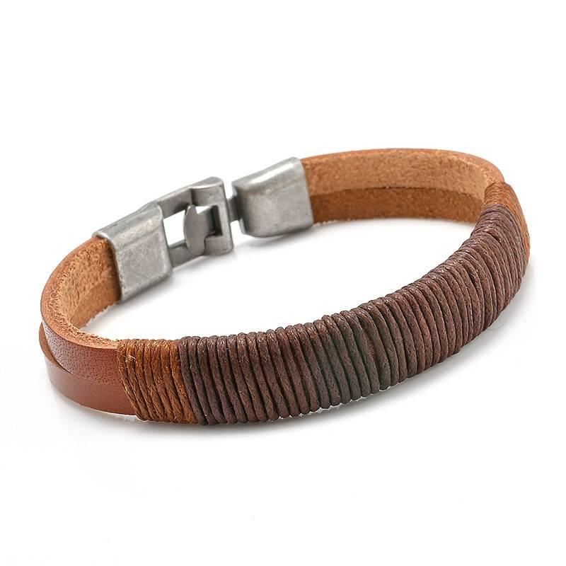 Joboly Stoere echt leren mannen / heren armband met metalen sluiting