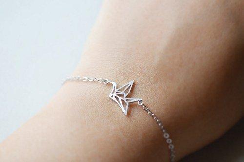 Lovelymusthaves Origami crane bird subtle bracelet