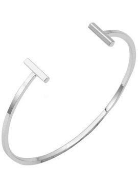 Lovelymusthaves Dubbele bar minimalistische platte armband zilver/goud