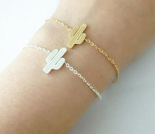 Lovelymusthaves Cactus hippe armband zilver/goud