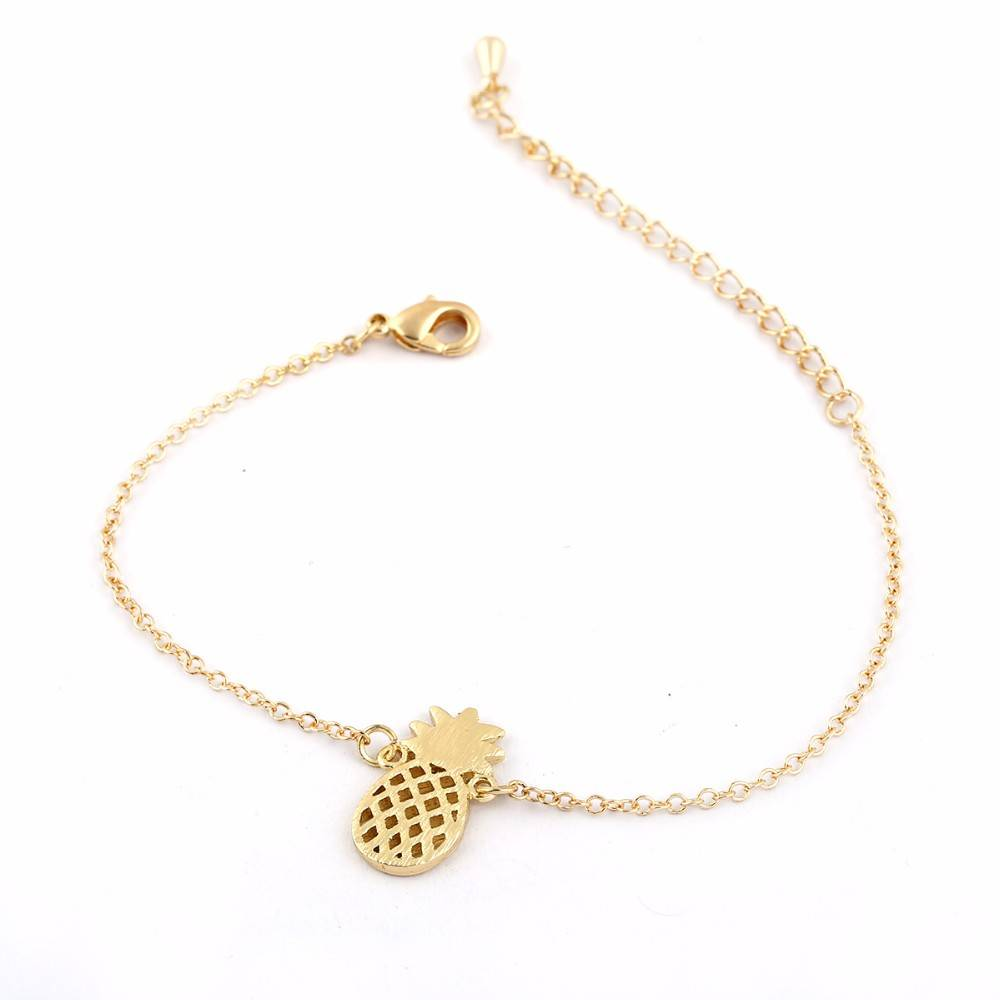 Lovelymusthaves Ananas pineapple hippe armband zilver/goud