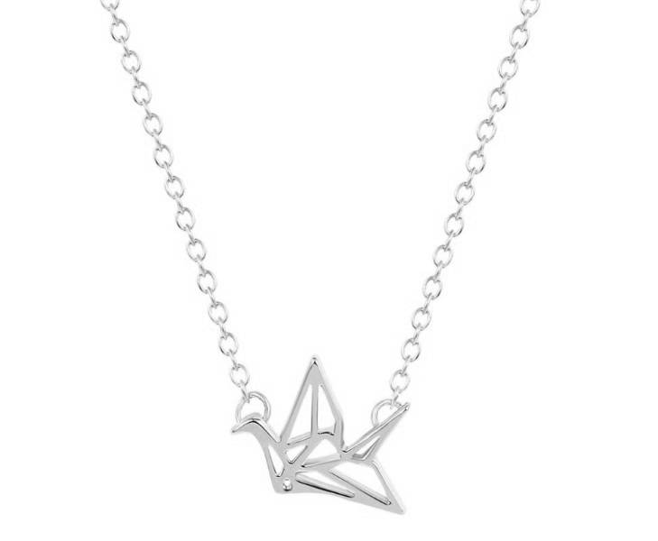 Lovelymusthaves Lovelymusthaves - Origami crane bird subtile necklace silver/gold