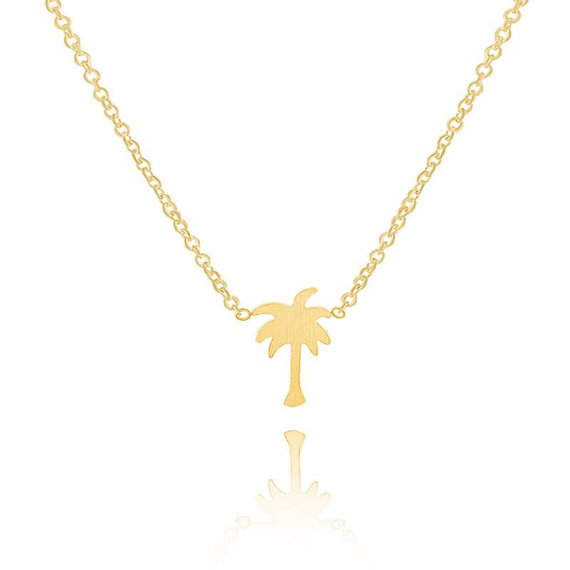 Lovelymusthaves Lovelymusthaves - Palm tree hip necklace silver/gold
