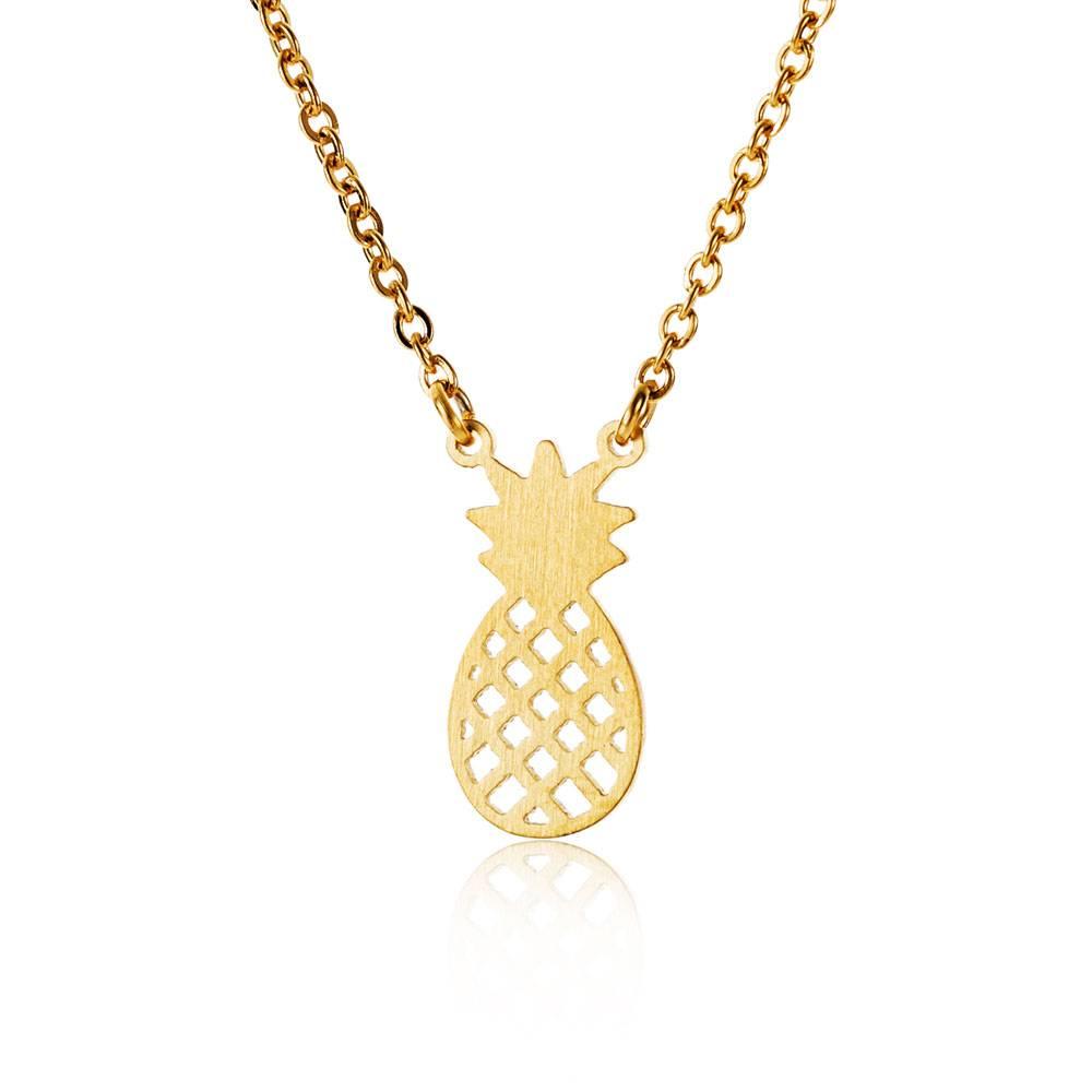 Lovelymusthaves Ananas ketting trendy pineapple zilver/goud/rosé