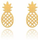 Lovelymusthaves Ananas pineapple trendy oorknopjes zilver/goud/rose