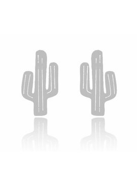 Lovelymusthaves Cactus hippe oorknopjes zilver/goud