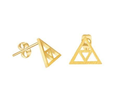 Lovelymusthaves Minimalistische open triangle driehoek oorknopjes zilver/goud