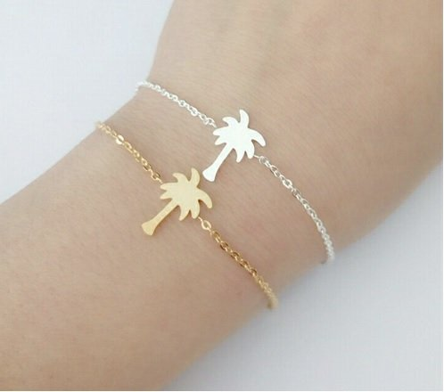 Lovelymusthaves Palm tree braclet silver/gold