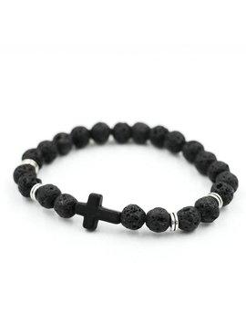 Lovelymusthaves Cool men cross bracelet black