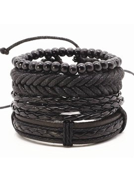 Lovelymusthaves Stoere multilayer mannen / heren armband set gevlochten kralen