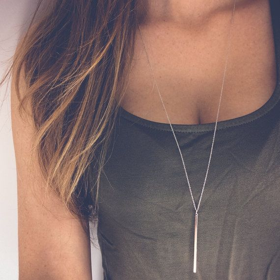 Lovelymusthaves T bar staaf balk ketting - Extra lang