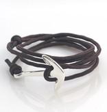 Joboly Tough men's / men's anchor bracelet adjustable gray / brown / blue