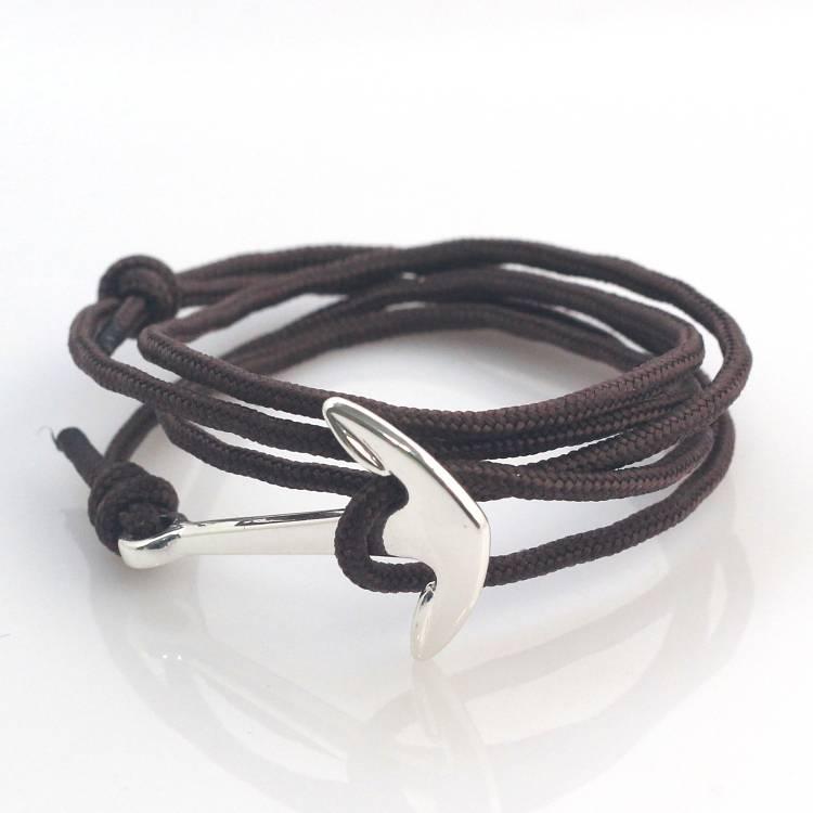 Lovelymusthaves Stoere heren / mannen anker armband verstelbaar grijs/bruin/blauw
