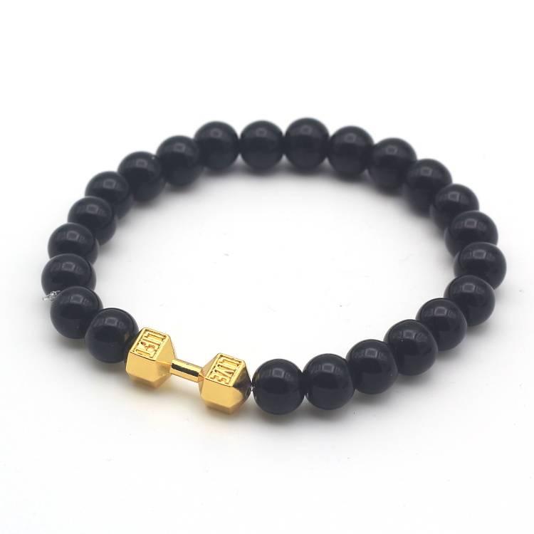 Lovelymusthaves Cool men dumbbell fitness bean bracelet silver/gold/black