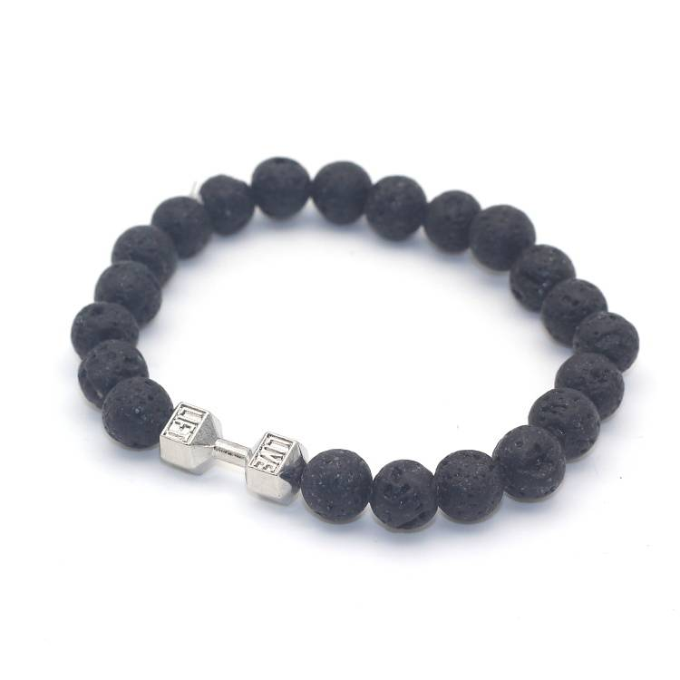 Joboly Tough men / men dumbbell dumbbell training fitness lava rock beads bracelet