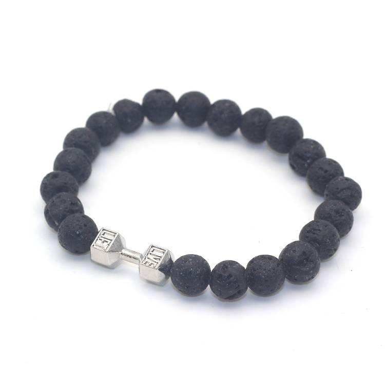 Lovelymusthaves Tough men / men dumbbell dumbbell training fitness lava rock beads bracelet