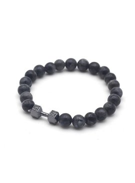 Lovelymusthaves Stoere heren / mannen halter dumbbell trainen fitness lavasteen kralen armband zilver/goud/zwart