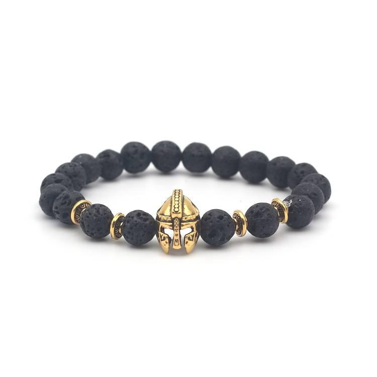 Lovelymusthaves Tough men / men helmet shield knight lava rock beads bracelet
