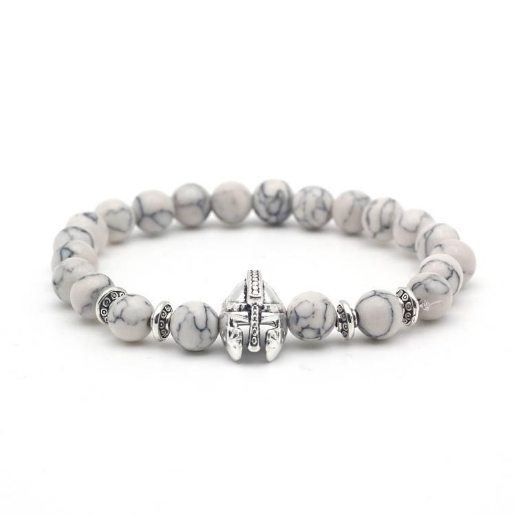 Lovelymusthaves Tough men / men helmet shield knight beads bracelet marble