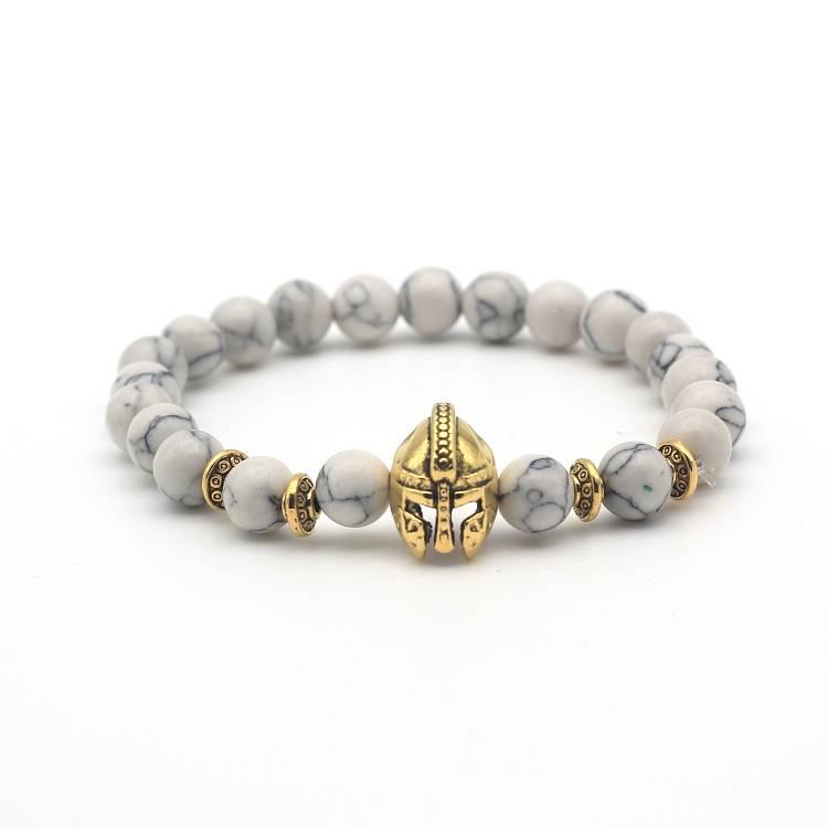 Tough men / men helmet shield knight beads bracelet marble