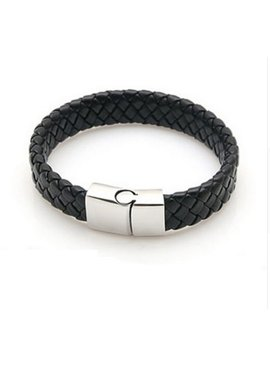 Lovelymusthaves Stoere platte brede mannen / heren armband gevlochten met handige sluiting