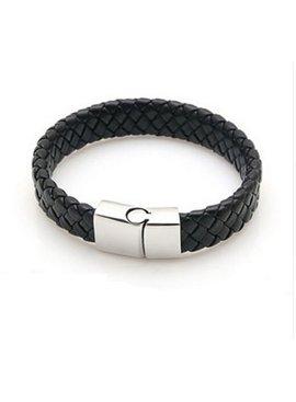 Stoere platte brede mannen / heren armband gevlochten met handige sluiting
