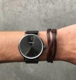 Stoere platte gevlochten mannen / heren armband met verstelbare sluiting