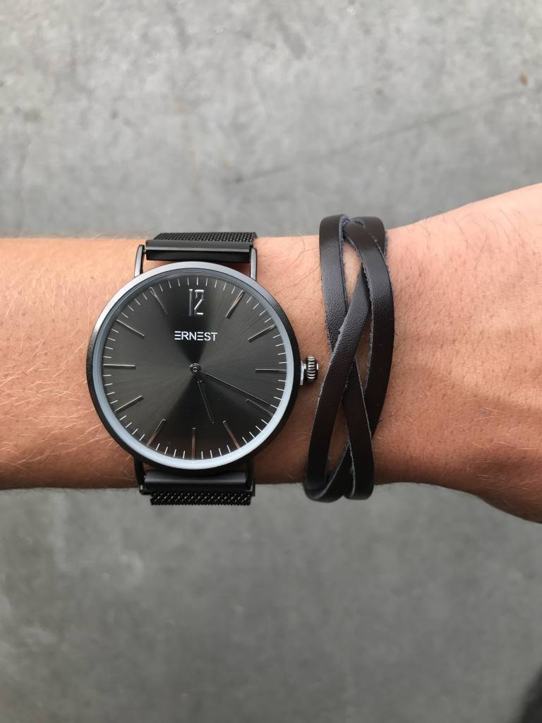 Lovelymusthaves Cool braided flat bracelet brown/black