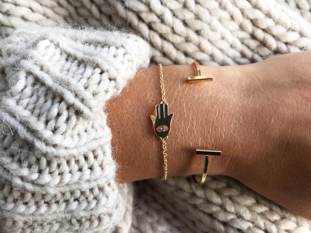 Lovelymusthaves Dubbele bar minimalistische platte armband