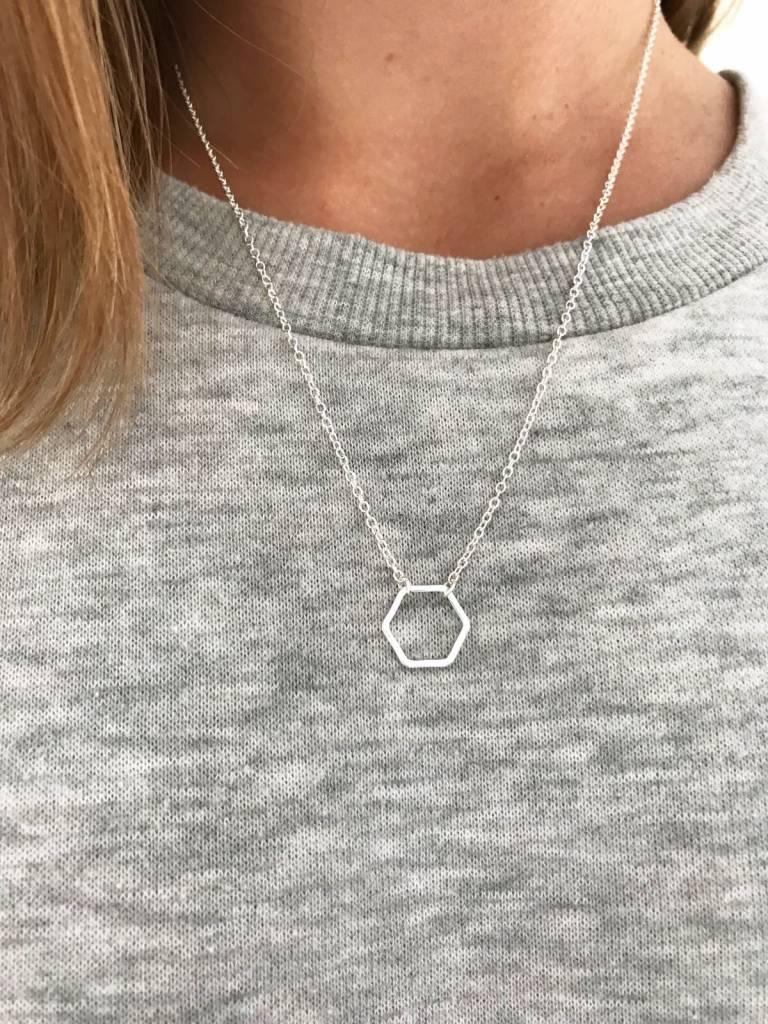Joboly Hexagon honey board geometric minimalist necklace