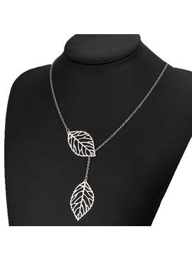 Joboly Lovelymusthaves - Leaf flower hip boho necklace silver/gold