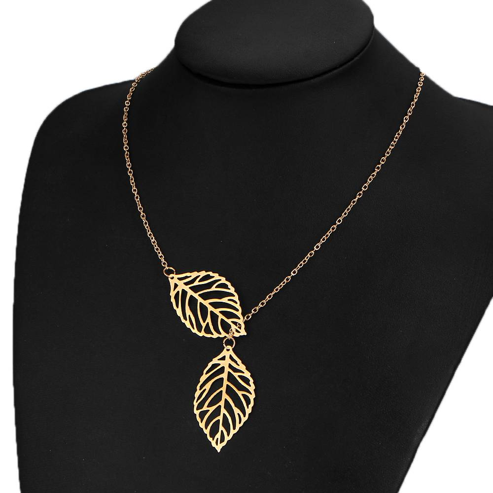 Lovelymusthaves Lovelymusthaves - Leaf flower hip boho necklace silver/gold