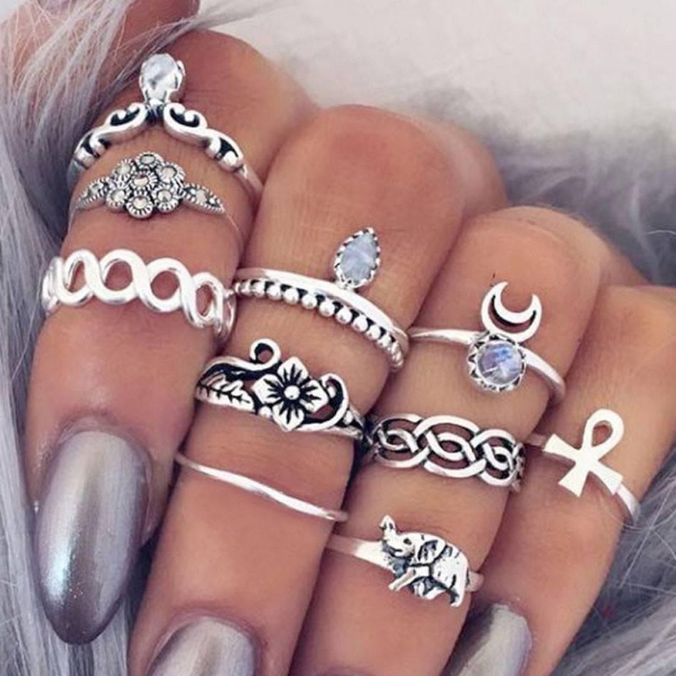 Hip boho bohemian style ring set