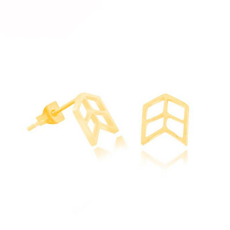 Lovelymusthaves Arrow geometric earstuds silver/gold