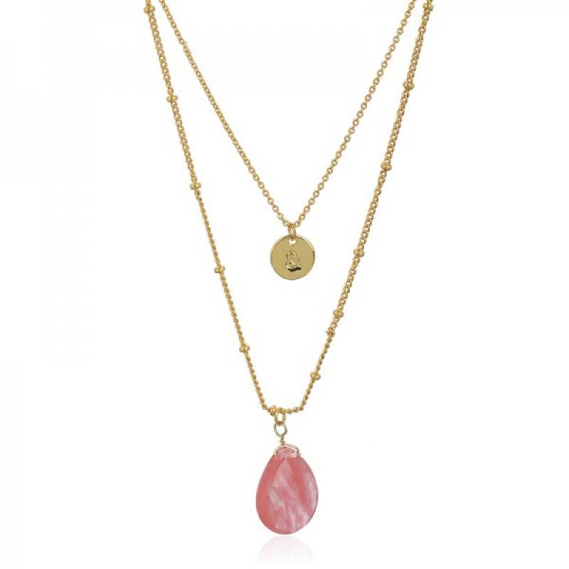 Joboly Multilayer stone coin necklace