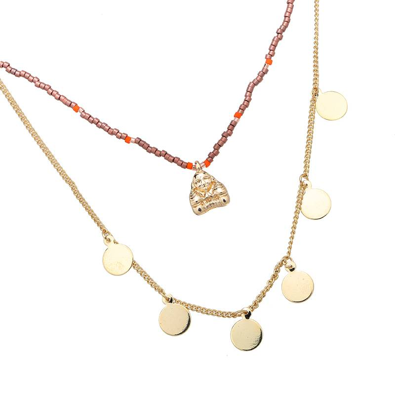 Multilayer buddha coin ketting