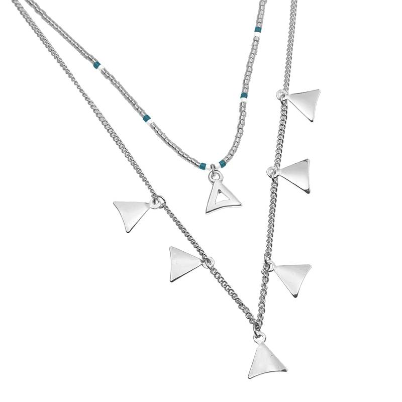 Lovelymusthaves Multilayer triangle necklace