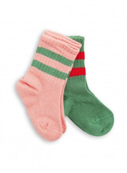 Mini rodini 2pack stripe sock pink/green