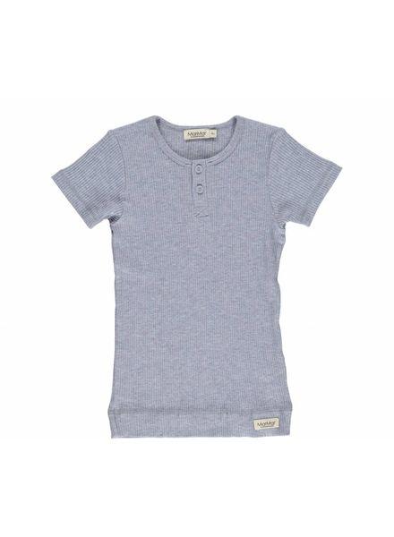 MarMAr CPH T-shirt blue melange met knoopjes