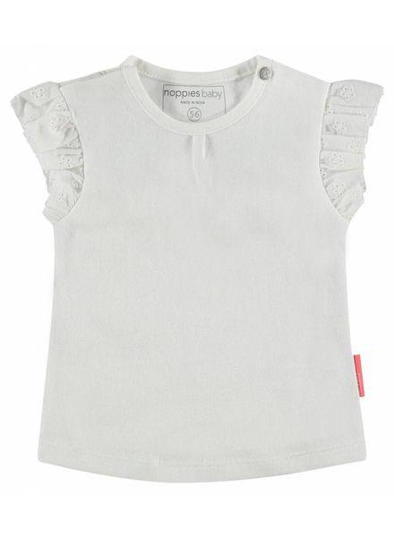 noppies Tshirt wit met broderie mouwtje84290