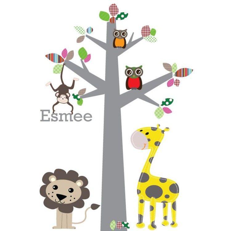 Muursticker boom jungle multi, met naam!