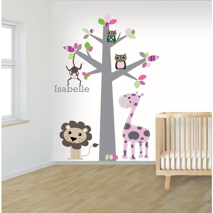 Muursticker boom jungle pink, met naam!
