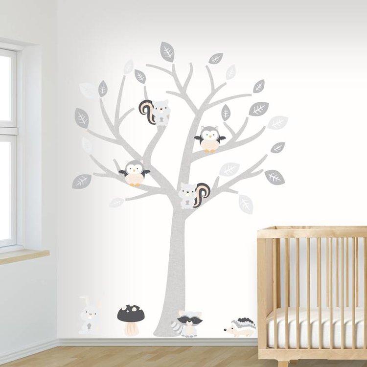 Muursticker Boom Baby Woodland grey