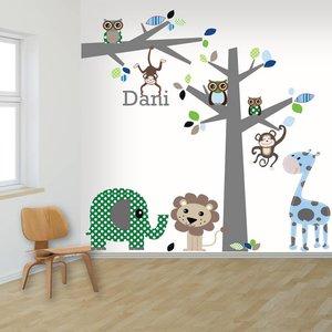 DecoDeco Muursticker boom en tak jungle blue met naam