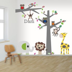 DecoDeco Muursticker boom en tak jungle multi met naam