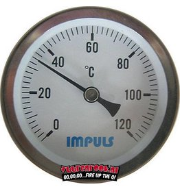 InPuls Thermometer 0-120c inclusief montage klip. 60mm/60mm