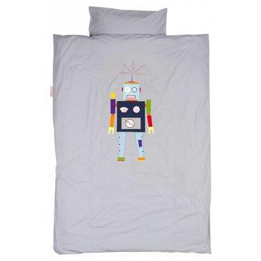 Taftan Taftan dekbedovertrek robot grijs