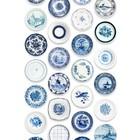 Studio Ditte Porselein behang - Blauwe bordjes van Studio Ditte